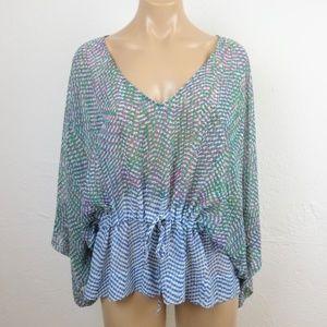 CAbi Peplum Blouse S Sheer Cinch Waist Kimono Slv